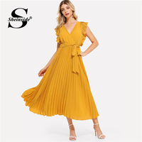 Sheinside Elegant High Waist Pleated Chiffon Dress Women 2019 Solid A Line Party Dresses Summer Casual V Neck Wrap Belted Dress