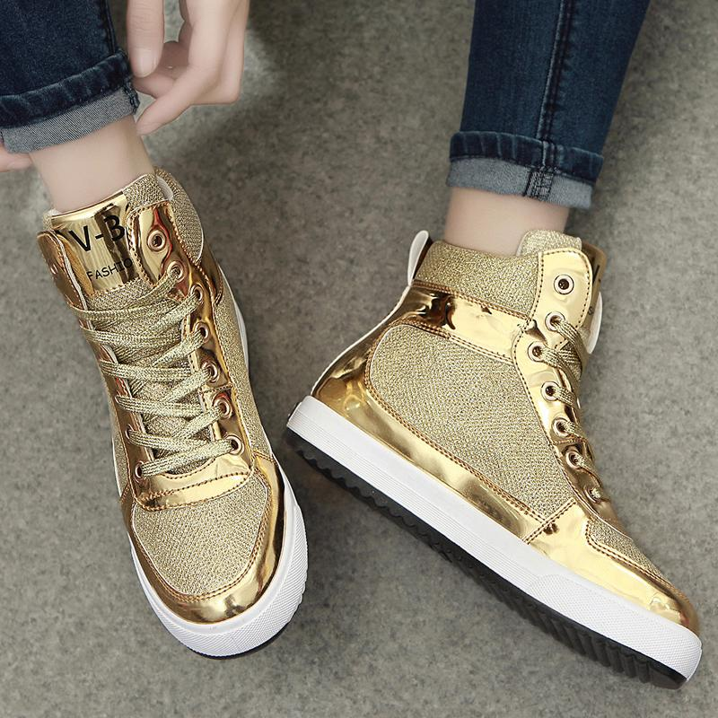 2016 new womens crystal patent leather with glitter canvas high top causal shoes brand design lace up breathable flat shoes