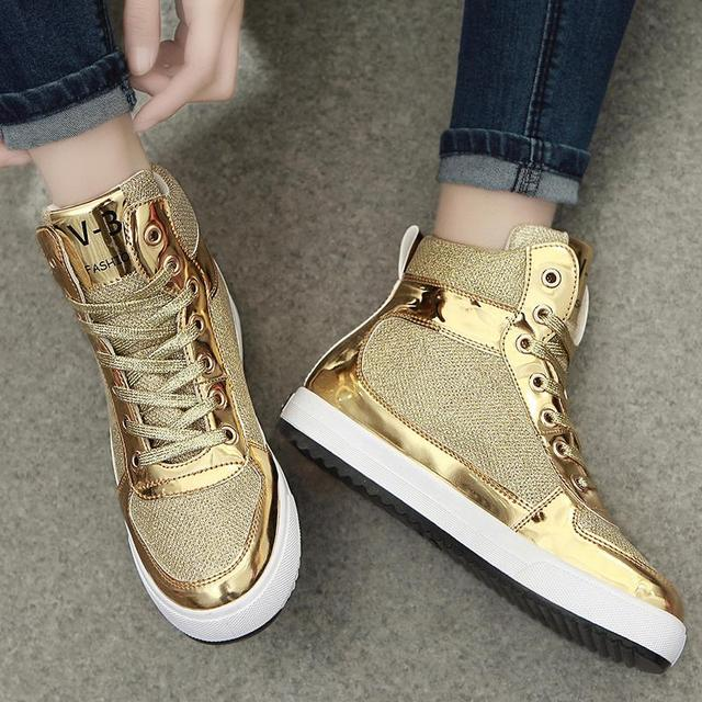 904711553794 2018 new womens crystal patent leather with glitter canvas high top causal  shoes brand design lace up breathable flat shoes