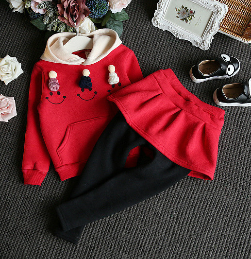 Autumn Winter Girl Hooded Sweatshirt + Skirt Pants 2 Pcs Thickened Tops + Leggings Trousers Children Clothing 2-6 Years