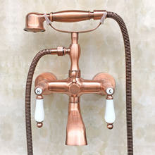 Wall Mounted Red Copper Antique Brass Ceramic Handle Clawfoot Bathroom Tub Faucet Telephone Style Handheld Shower atf806 wall mounted 8 in shower faucet bathroom ceramic handheld single handle hot