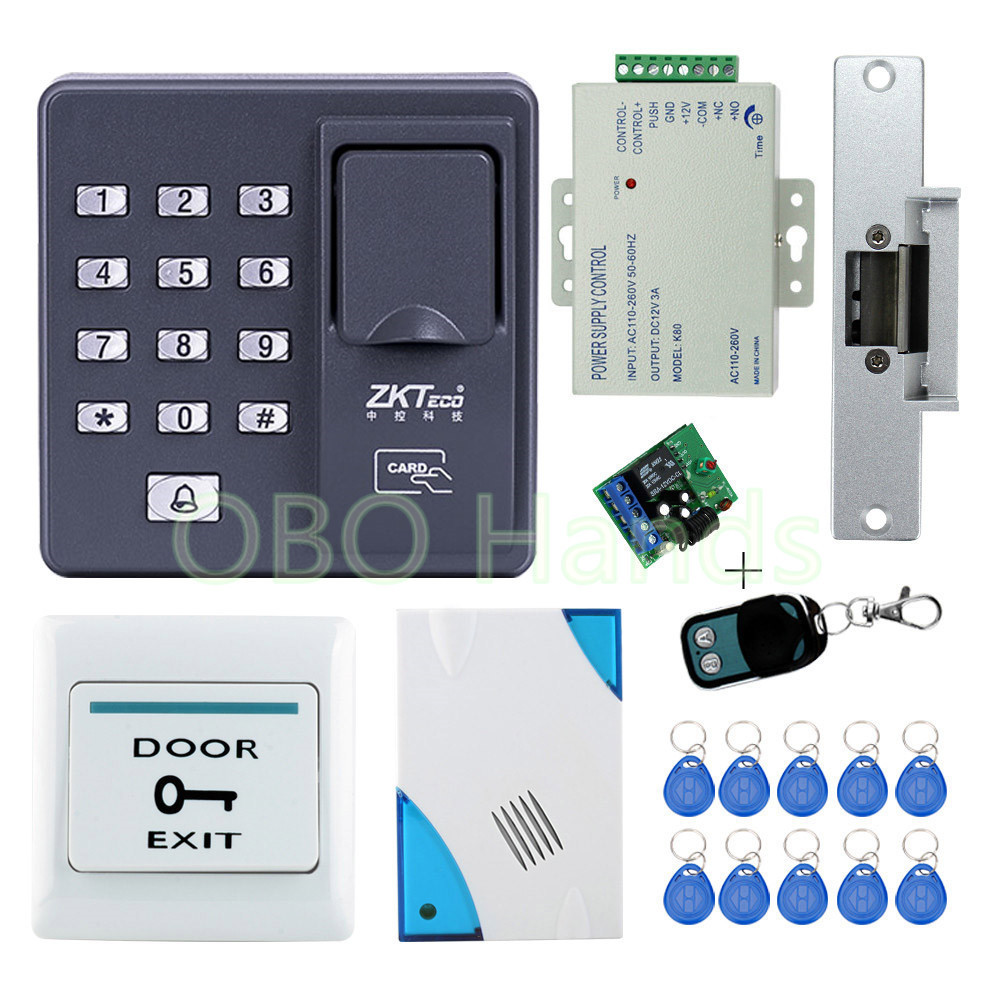Full kit RFID Fingerprint machine+NC fail safe strike lock open when power on for access control system t handle vending machine pop up tubular cylinder lock w 3 keys vendo vending machine lock serving coffee drink and so on