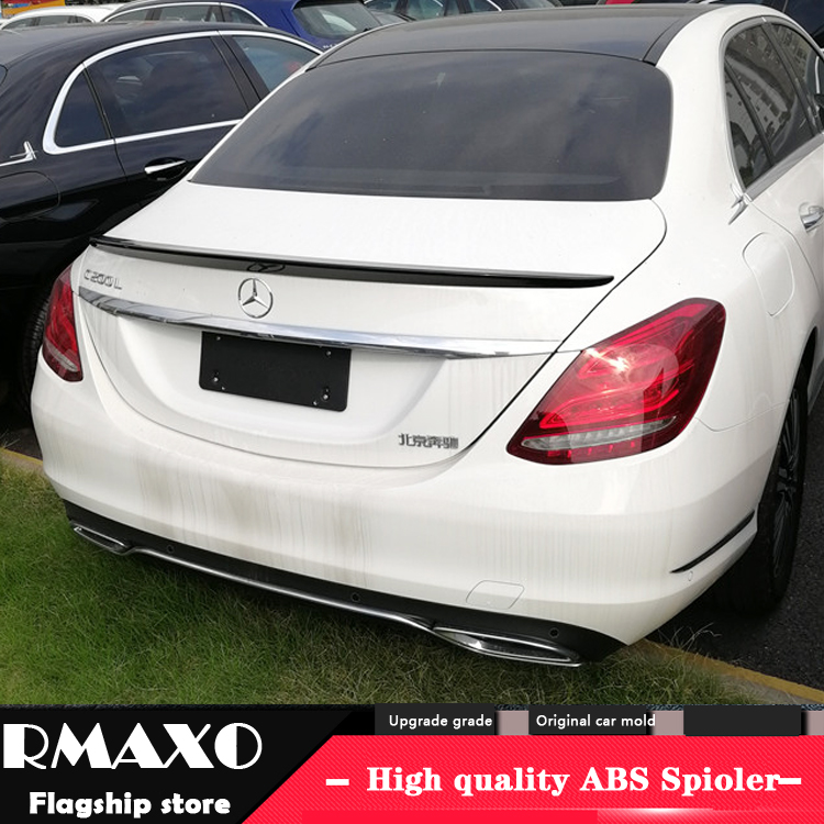 For Benz <font><b>W205</b></font> <font><b>Spoiler</b></font> 2015-2018 C-class C180 200 260 300 C63 High Quality ABS Material Car Rear Wing Color Rear <font><b>Spoiler</b></font> image