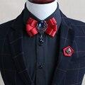 Nova moda Frete Grátis dos homens padrinho de casamento do noivo masculino gola Coreano gola laço com a popularidade da estrela Broche definido em venda