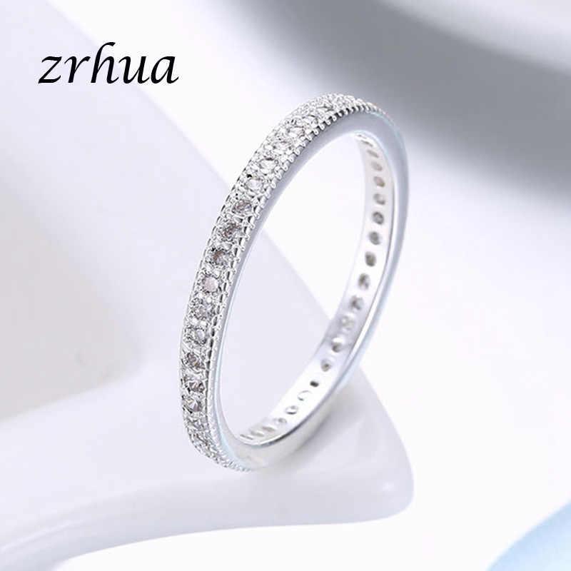 ZRHUA 925 スターリング-銀 Jewlery 女性リングラウンドジルコニアクリスタル指バゲ Anillos 女性のための結婚式のオリジナルシルバーと操作