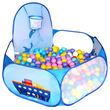 Cartoon Dolphin Pattern Baby Ball Pit Foldable Washable Toy Pool Children Hexagon Ocean Game Play Tent House