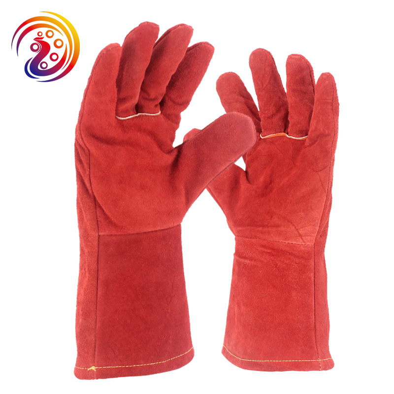 цена на OLSON DEEPAK Cow Split Leather Red Welders Glove Long Factory Gardening Work Gloves HY039