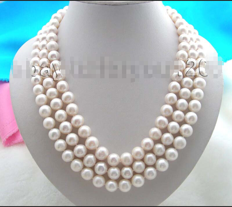 """Free Shipping 22"""" 3rows Natural 11mm Round White Pearl Necklace ! ()"""