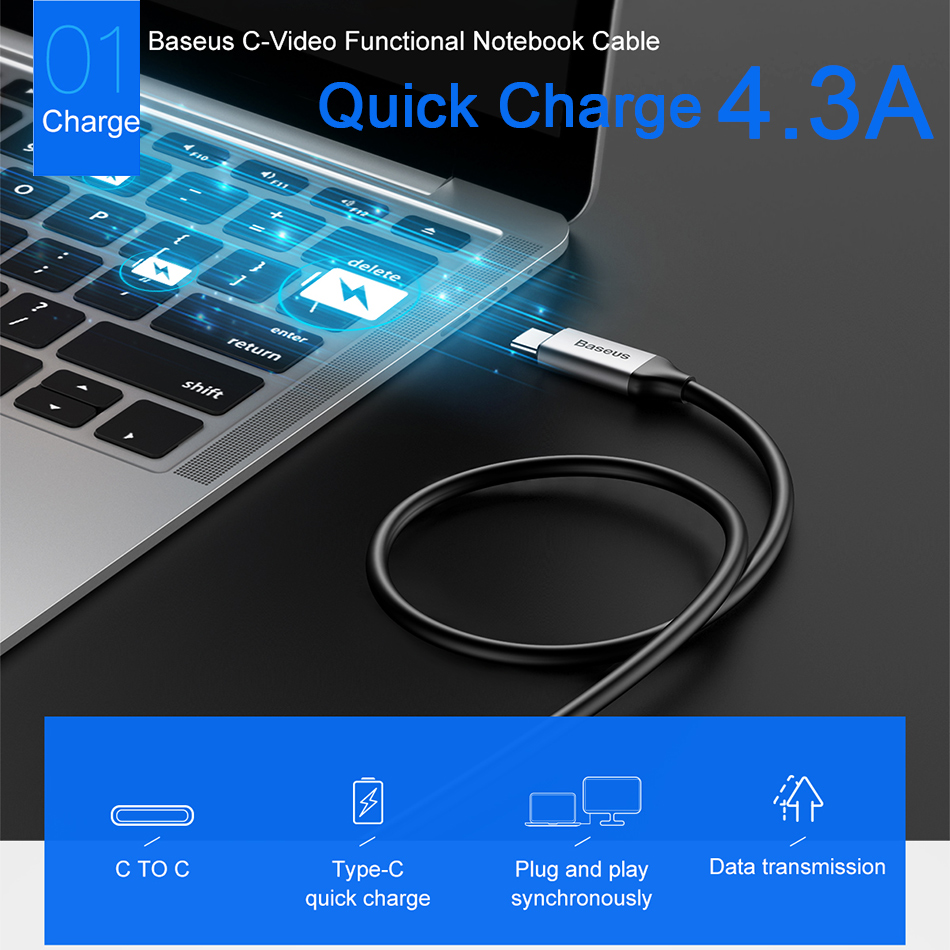 Baseus 86W USB Type C Cable For Macbook Chromebook 4.3A Quick Charge Cable Fast Charging 10Gbit/s Data sync 4K Video USB C Cable