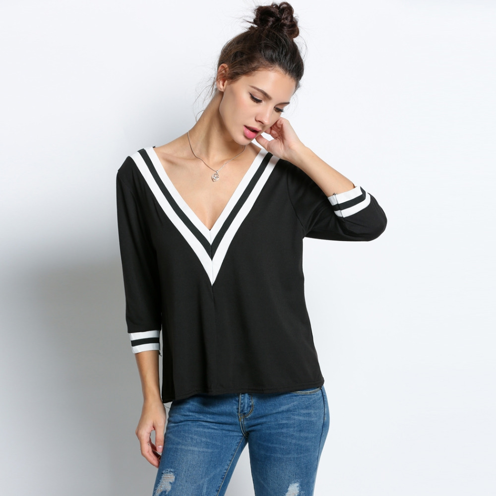 Women sexy striped v neck loose tops 3 4 sleeve t shirt for Womens black v neck t shirt