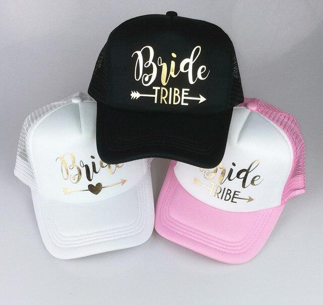 ab48905bf65 C Fung BRIDE TRIBE trucker hats Bachelorette Snapback Cap Team Bride Neon  gold letter Arrow design mesh baseball hat caps