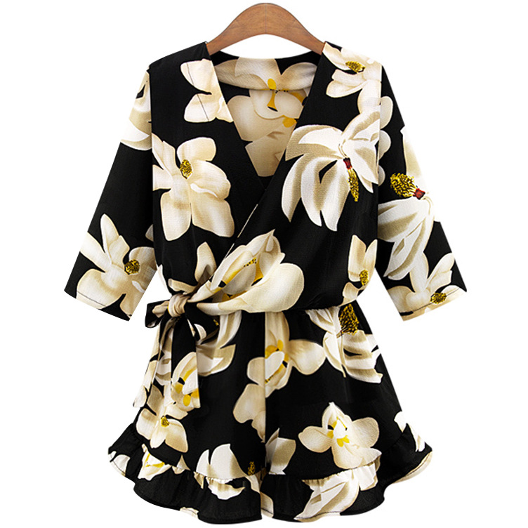Plus Size S-5XL Playsuits Print Floral Jumpsuits Rompers Summer Sexy Deep V-neck Bodysuit Bohemian Overalls Casual Female Tops