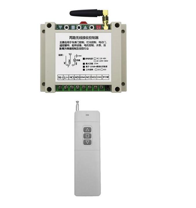 AC220V 250 v 380 v 2CH Télécommande Sans Fil Commutateur Récepteur + Émetteur tubulaire moteur garage porte lumière 315 mhz 433 mhz
