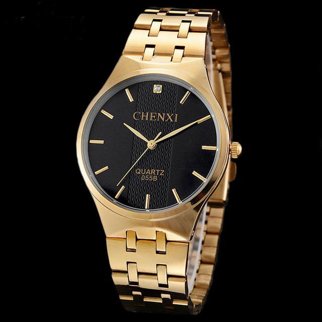 Chenxi 2016 amantes de relógios de luxo da marca ouro rhinestone simples minimalismo mulher homem casal relógio de quartzo relógio de pulso relógio de presente feliz