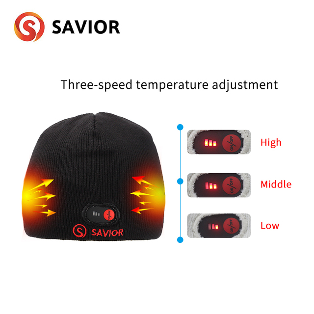 Savior battery hat for winter outdoor sports keep warm heat therapy quick heating head protect 3 levels control unisex gift Hot