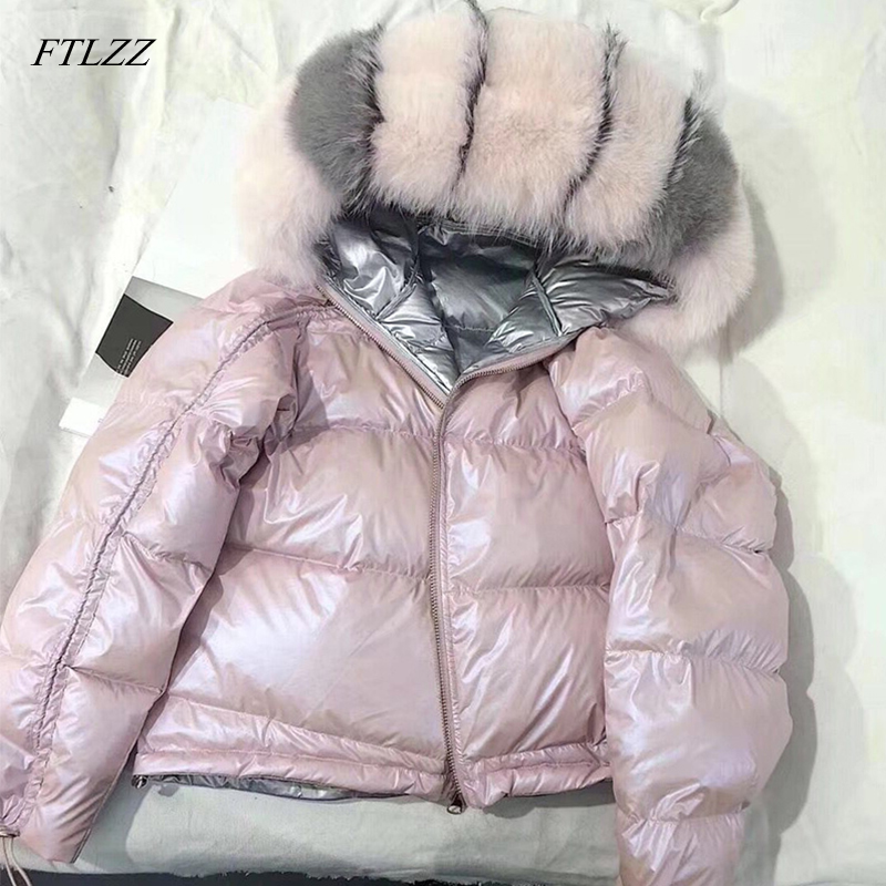FTLZZ Large Real Fur   Down     Coat   Winter Jacket Women Loose Natural Fox Fur Collar White Duck   Down   Jacket Thick Warm Short Parka