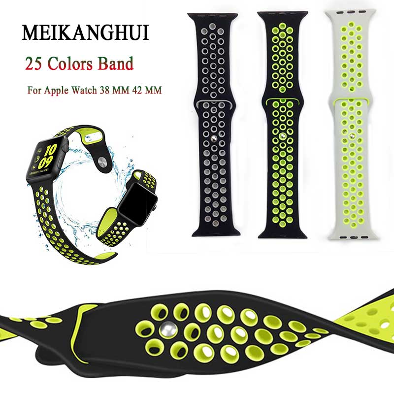 MEIKANGHUI Sport Silicone band strap For apple watch 42mm 38mm bracelet wrist band watch watchband For iwatch 3/2/1 Accessories bumvor sport silicone band strap for apple watch 42mm 38mm bracelet wrist band watch watchband for iwatch 3 2 1 box