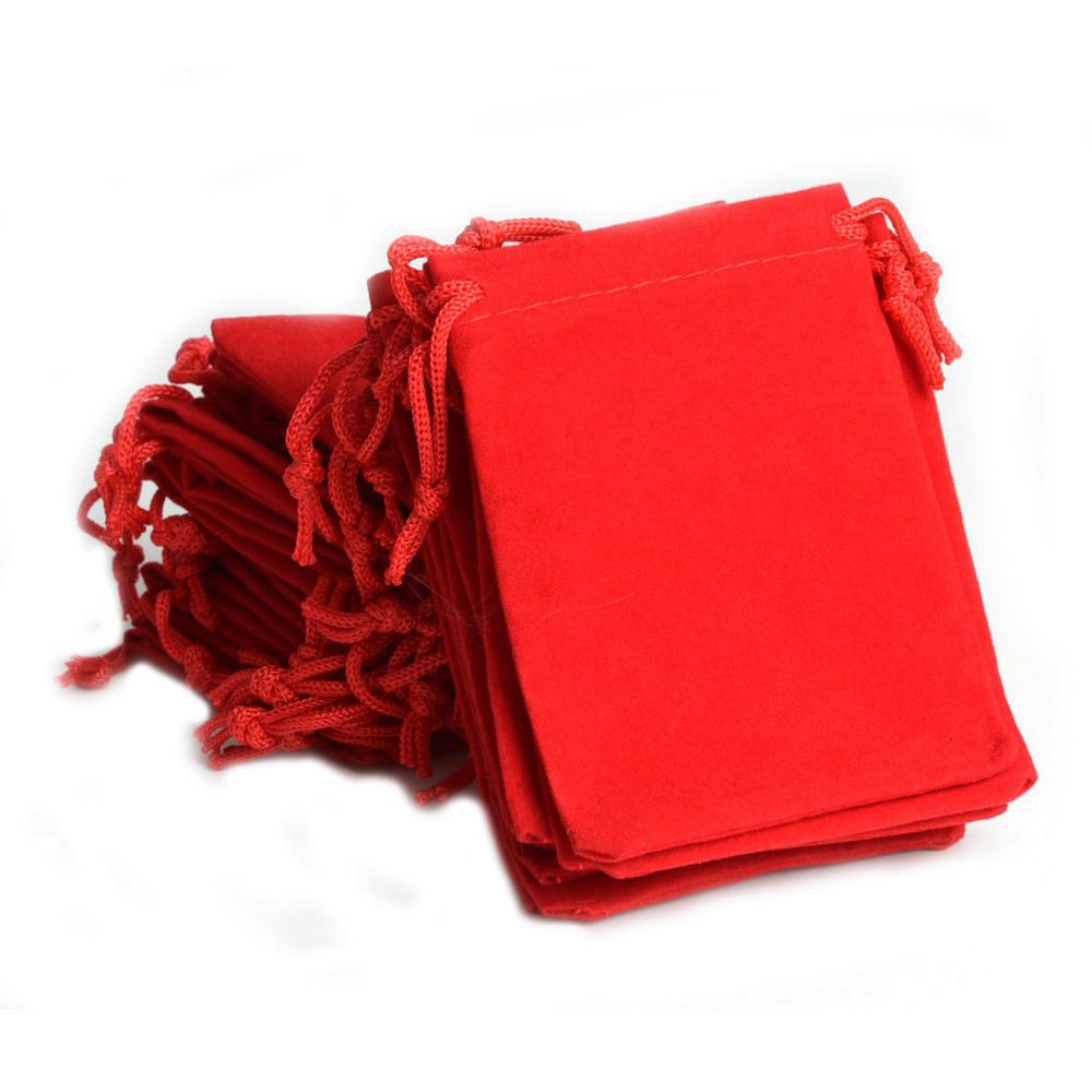 100Pcs/Lot Red Velvet Drawstring Jewelry Gift Bags Pouches HOT 2.75x3.54