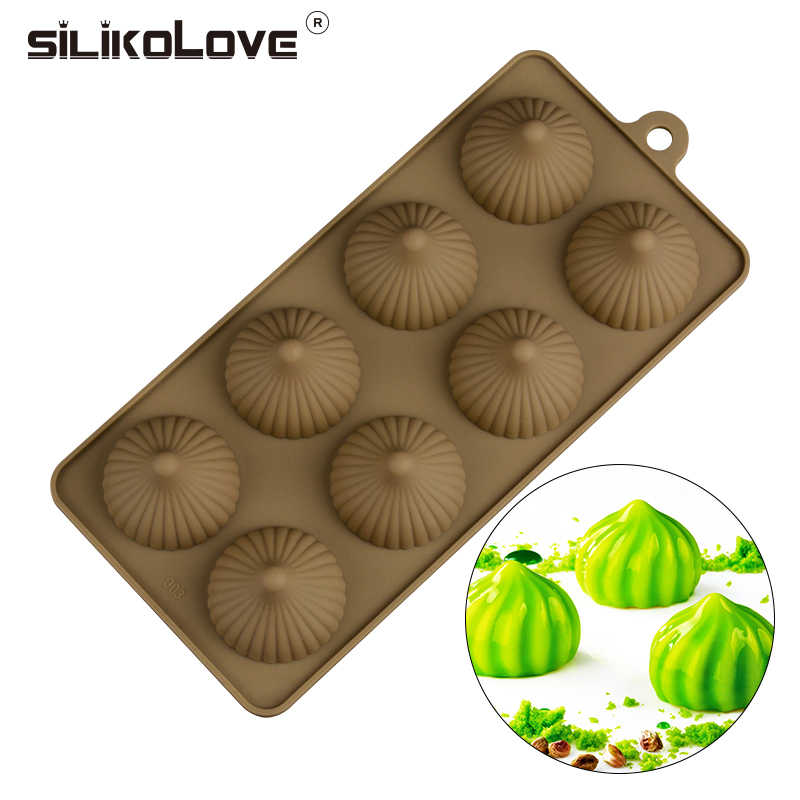 SILIKOLOVE New DIY Buns-Shaped Non-Stick 8 Cavity Silicone Cake DIY Dessert Pastry Molds Cake  Baking Decorating Tools Tray