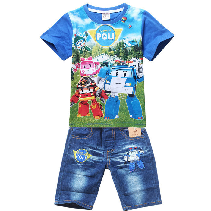 Retail New 2016 Summer POLI ROBOCAR Children boys Clothing Sets, Baby Kids Shirt Jeans Shorts Pants 100% Cotton Clothes Sets lucky numbers 2016 summer baby boys clothing 100