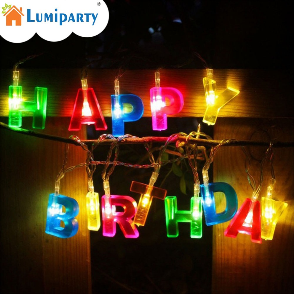 LumiParty 15 LED Battery Operated String Fairy Light HAPPY BIRTHDAY Letter Shaped Birthday Party LED Lights Decoration