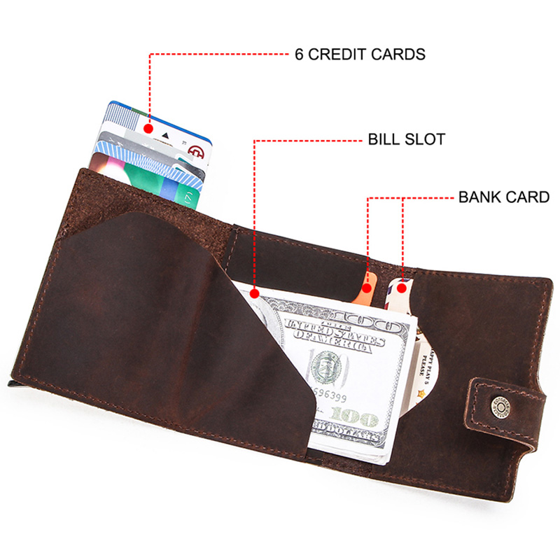 CONTACT'S Crazy Horse leather men wallet RFID Blocking credit card holder Aluminum box Automatic pop up Business Security Purse 4
