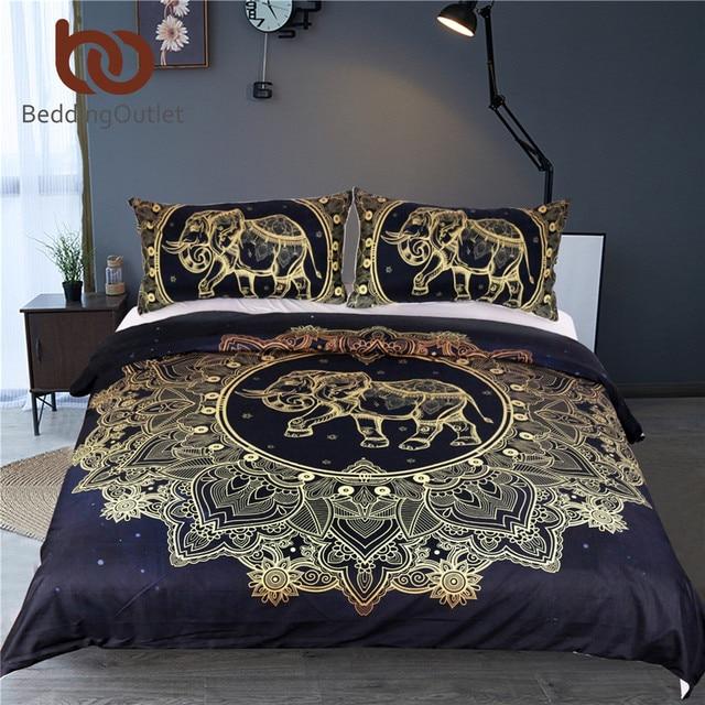 Beddingoutlet Mandala Flowers Elephant Duvet Cover Set Black Dark Blue Bedding Queen Vintage Soft Quilt