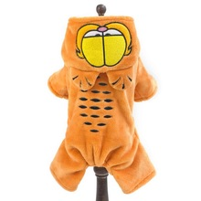 Fleece Puppy Dog Coat Clothes Garfield  Style Winter Warm Jacket Funny Dog Pet Costume Jumpsuit Hoodie S~XXL Available