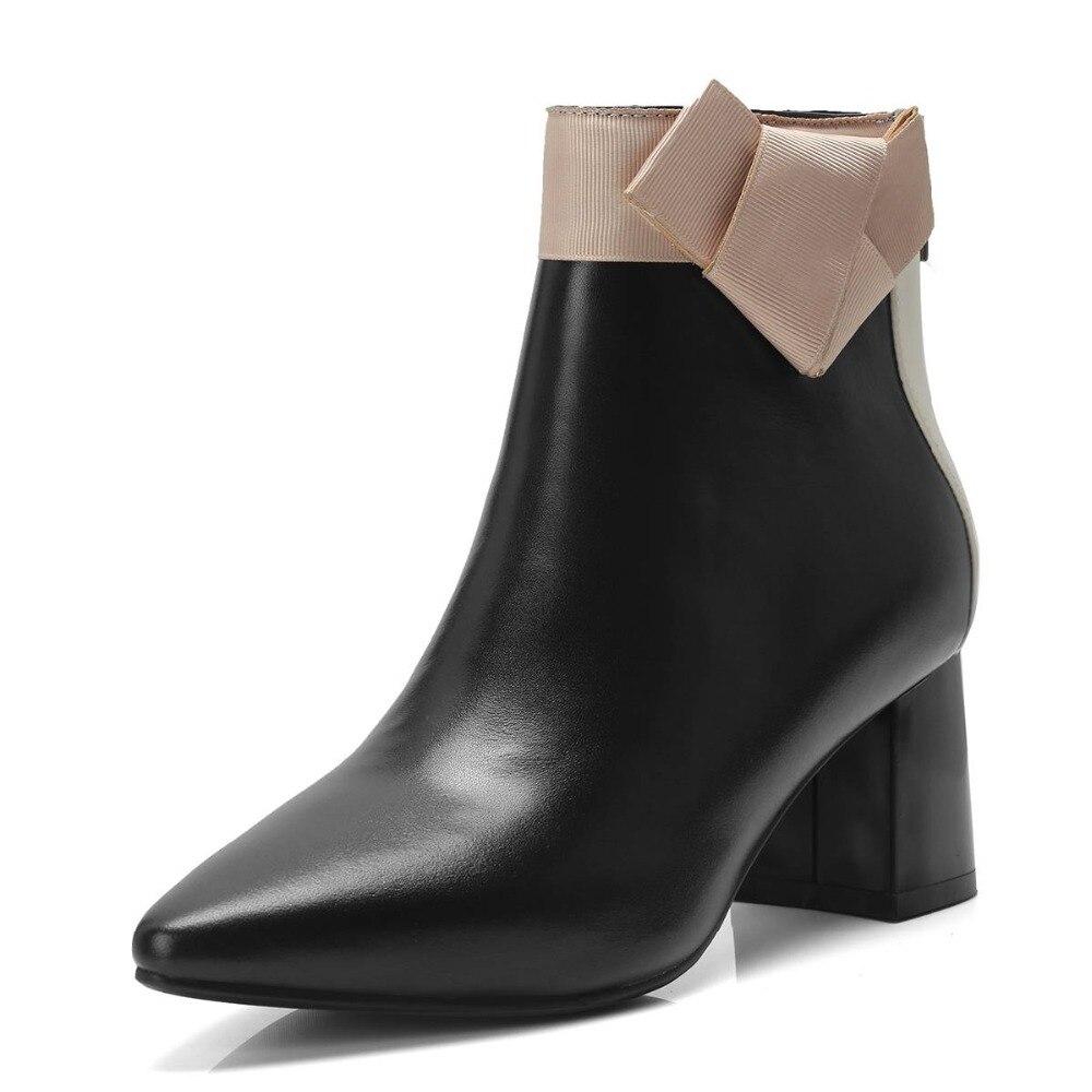 Natural Mezclados Vintage 2018 Tacones Botas Zapatos Beige Cremallera Sweet Lenkisen Alta Chelsea Hadas Cuero L39 Moda Girl Gruesos negro Colores wEfpqY7