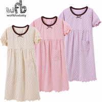 Retail 3-14 years short-sleeves cotton children's home wear nightdress girl pajamas autumn fall summer Spring dot