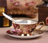 180 ml Vintage Royal Courtiser En Céramique Thé Tasse et Soucoupe Doré peinture à l'huile conception Café Thé Tasses