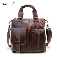 BAILLR Brand New Fashion Men S Handbag Men Business Briefcase Genuine Leather High Quality Tote Bag
