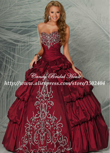 Taffeta Ruched Vintage 2015 Burgundy Red Quinceanera Dresses