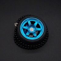 TOYIKIE Big TE37 Car Tires Model Metal Wheel Keychain Leather Rope Men Car Wheel Bead Chain