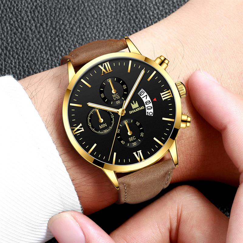 SHAARMS New Arrival Men Watch Brown Leather Band Fashion Quartz Watches Military Sport Date Wristwatch Relogio Masculino SA6070