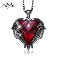 Cdyle Embellished with crystals Jewelry Halloween Red Rhinestone Black Angel Charms Necklace Choker Party Charms(China)