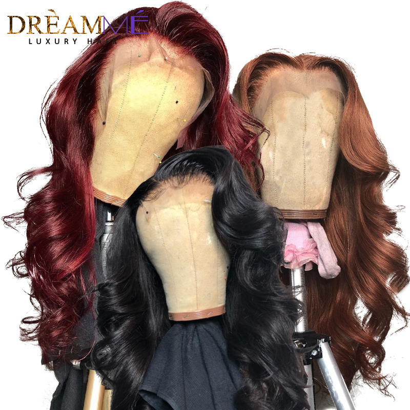 Red Body Wave Lace Front Human Hair Wig Preplucked Ombre Brazilian Burgundy Wigs Remy 13X6 Deep Part Frontal Wig For Black Women-in Human Hair Lace Wigs from Hair Extensions & Wigs