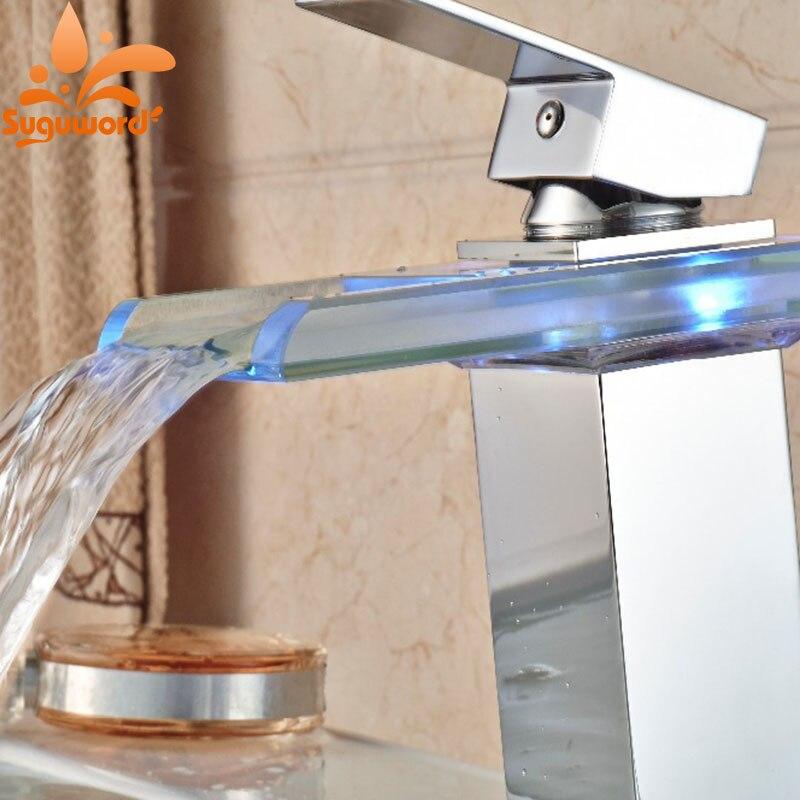 LED Glas Stijl Chrome Badkamer Wastafel Kraan Vierkante Waterval ...