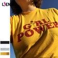 LIENZY Summer Girl Power Rosa Letra T Camisa de Algodón Blanco Amarillo Gris Negro Camiseta de Las Señoras Tops