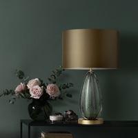 Ditoon постмодерн светодио дный настольная лампа Designer'S освещения прикроватные Спальня гладить огни Стекло ткань Форма светильник серый зелен