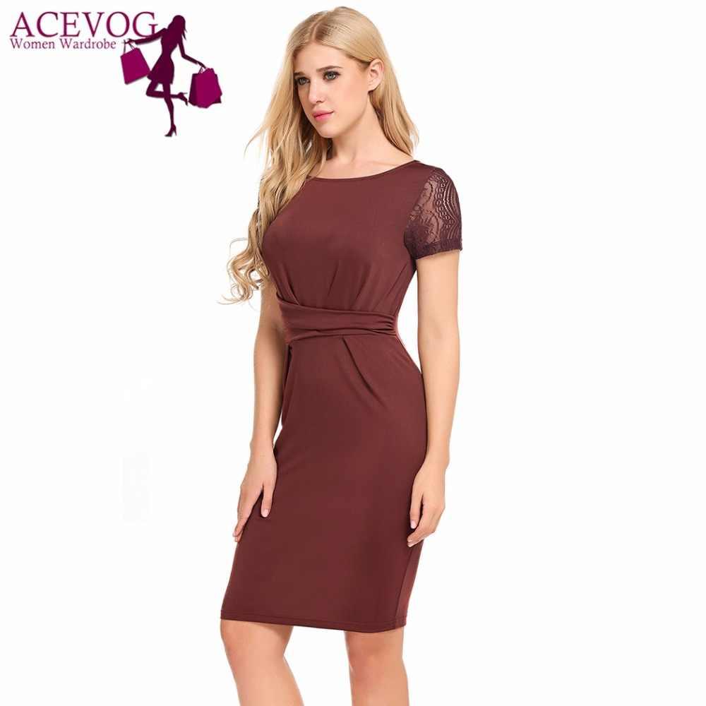b4b5a50c6b4 ... ACEVOG Women Bodycon Dress Summer Vintage Short Sleeve Slim Lace  Patchwork Draped Office Pencil Dresses Brand ...