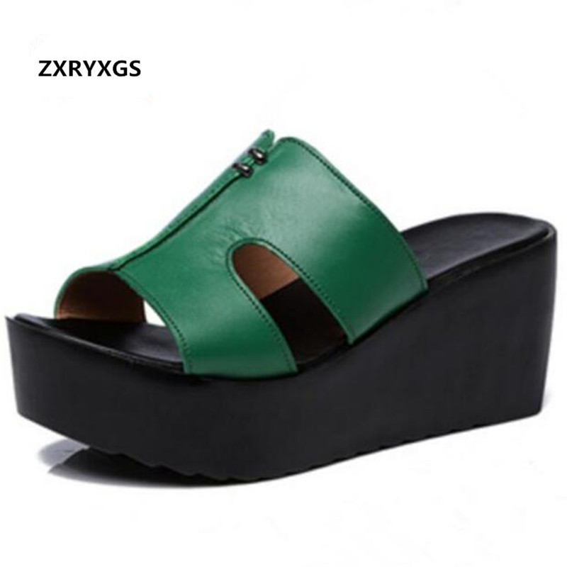 Elegant Comfortable Genuine Leather Shoes Woman Sandals Slippers 2019 Newest Platform Shoes Wedges Slippers Summer Women