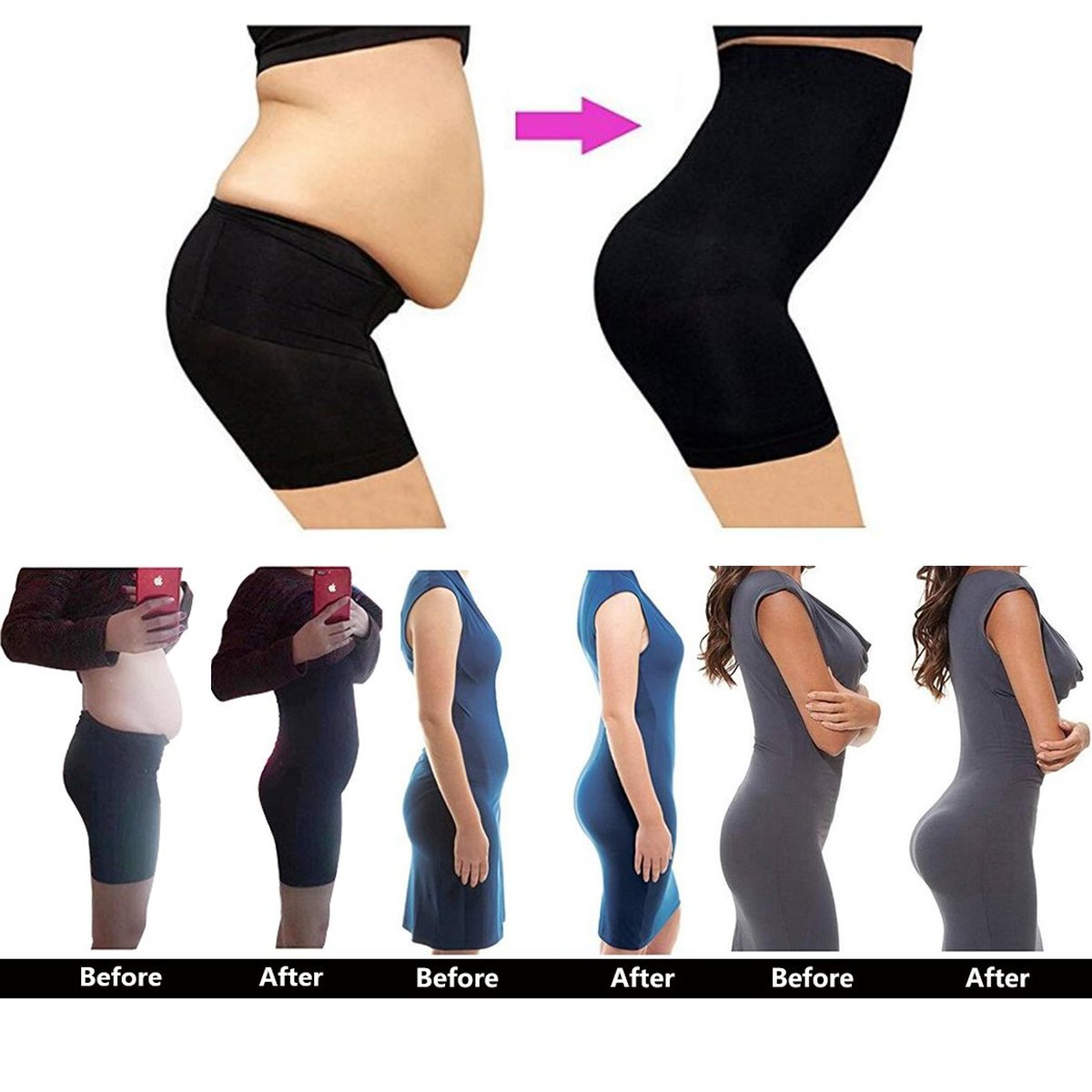 Body Shapers Thigh Slimmer Tummy Control Shorts Pants Waist Trainer For Women Slimming Underwear Butt Lifter Seamless Panties in Control Panties from Underwear Sleepwears