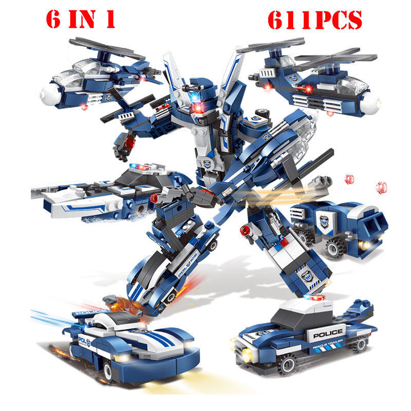 Blocks 611pcs City Police Series Car Trucks Helicopter Model Building Blocks Compatible Legoingly City Enlighten Brick Toy For Children With Traditional Methods Model Building
