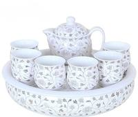 Chinese White Ceramic Tea Set Kung Fu Tea Double Layer 6pcs Cups with 1 Tea Pot 1 Ceramic Tea Tray Chinese Porcelain Cup