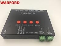 WARFORD 1pcs T8000A rgb LED Controller For ws2812b/WS2811/WS2813/LPD6803/DMX512 Strip Program + Power adapter RGB 8192 Pixel
