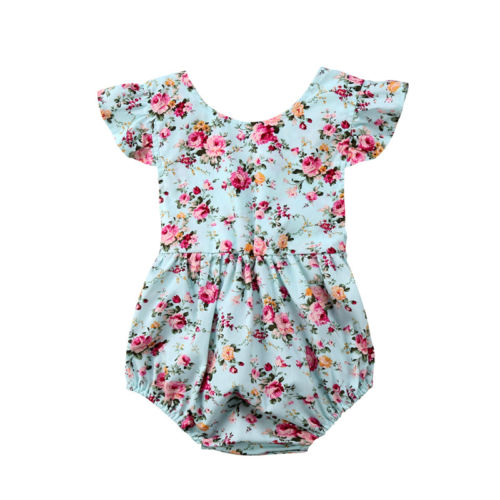 Newborn Infant Baby Girl Floral Ruffle Jumpsuit Romper Clothes Outfits Summer