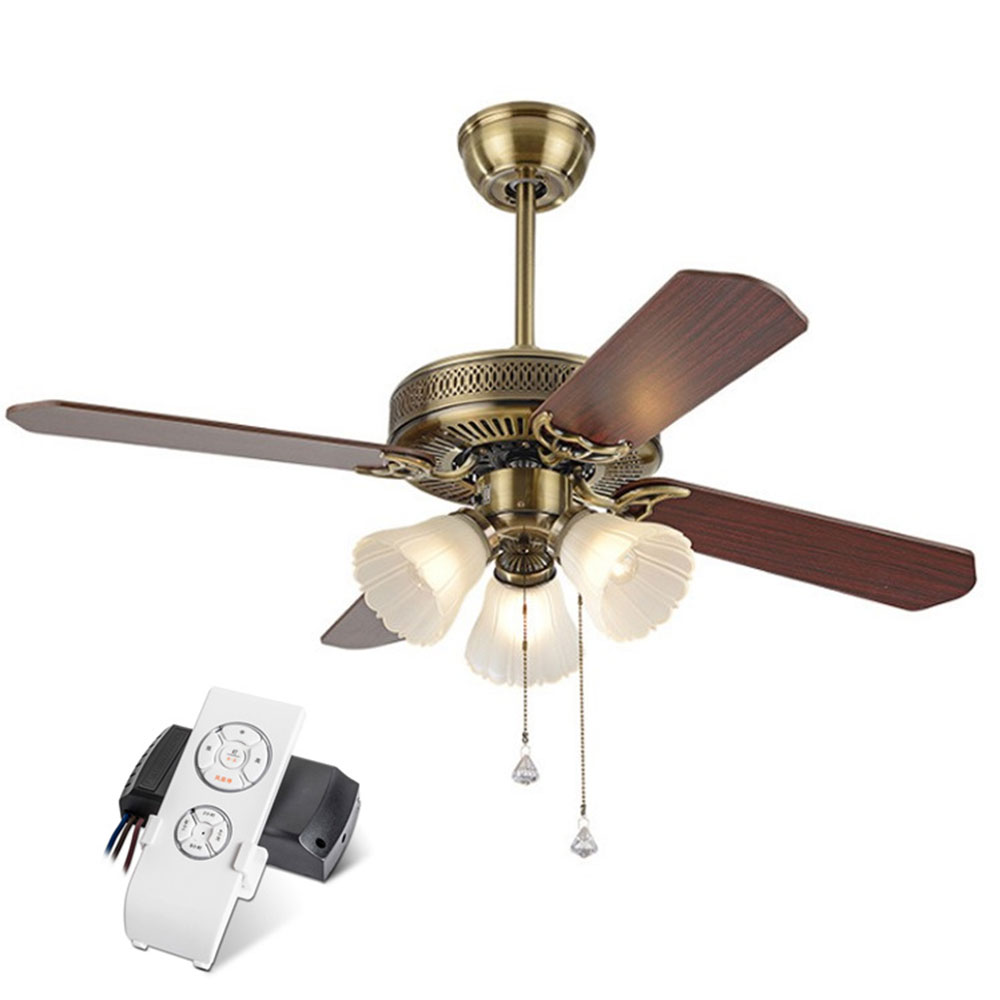 American Vintage Ceiling Fan With Lights Remote Control Ventilador De Techo 220 Volt Bedroom Ceiling Light Fan Lamp E27 Bulbs