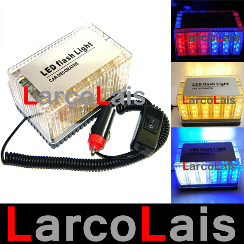 Yellow White Blue Amber Red 48 LED 12V Waterproof Car Roof Flash Strobe Magnets Emergency EMS Shell Warnnig Light