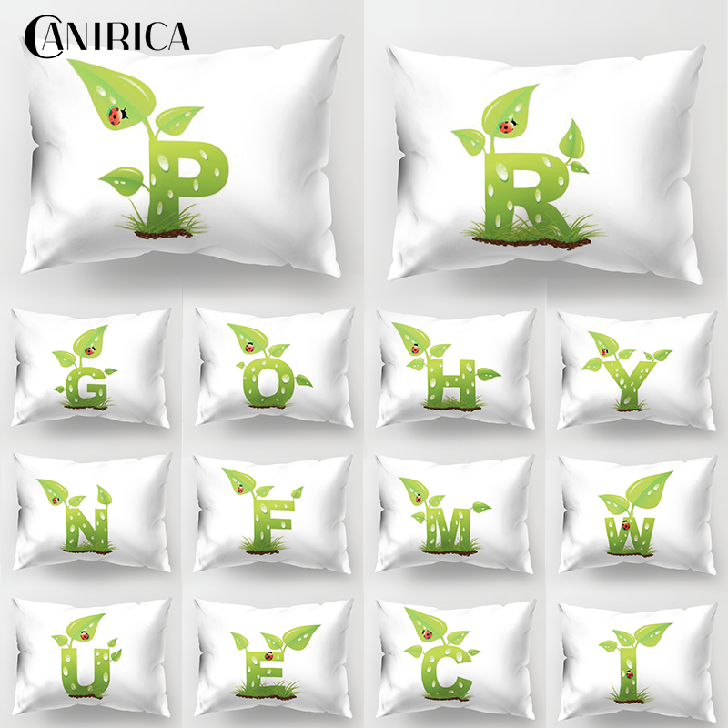 CANIRICA Cushion Cover Letter Pillow Cover Green Wedding Decor <font><b>30</b></font>*<font><b>50</b></font> Pillow Cover Home Decorative <font><b>Funda</b></font> <font><b>Cojin</b></font> For Living Room image